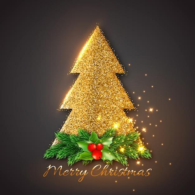 Abete dorato con rami di abete decorativo natalizio e agrifoglio. luci incandescenti oro, sfondo nero. Vettore Premium