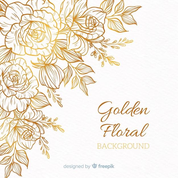 Sfondo floreale dorato Vettore Premium