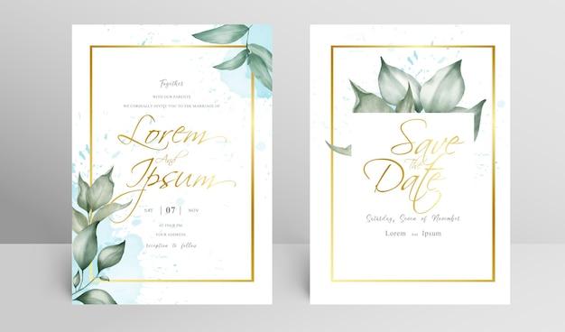 Set di invito a nozze cornice floreale dorata Vettore Premium