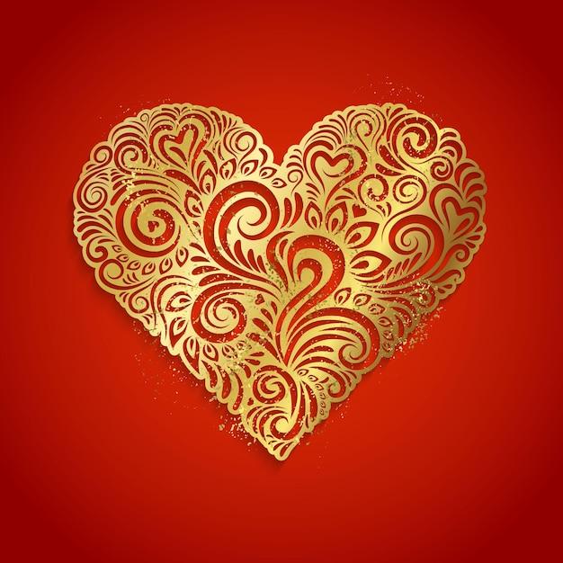 Cuore d'oro su sfondo rosso illustrazione Vettore Premium