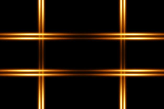 Confezione di razzi di lenti orizzontali dorate. raggi laser, raggi luminosi orizzontali. bellissimi bagliori di luce. striature luminose su sfondo scuro. Vettore Premium