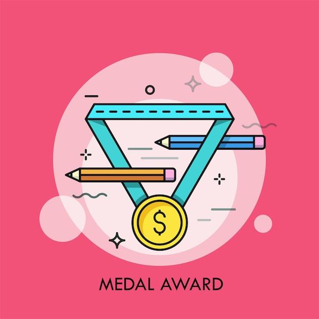 Medaglia d'oro con il simbolo del dollaro e un paio di matite. Vettore Premium