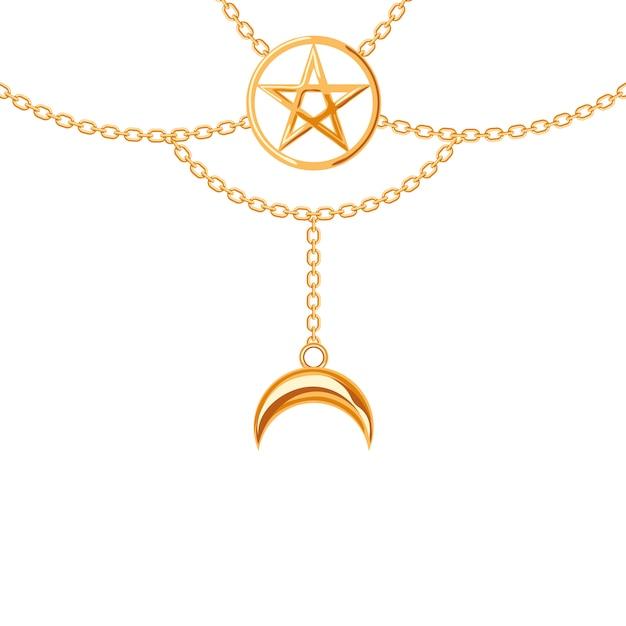 Collana metallica dorata. ciondolo pentagramma e catene. Vettore Premium
