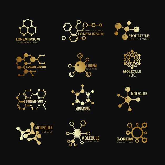 Logotipi molecolari dorati. icone di tecnologia genetica di chimica di formula di concetto di evoluzione messe Vettore Premium