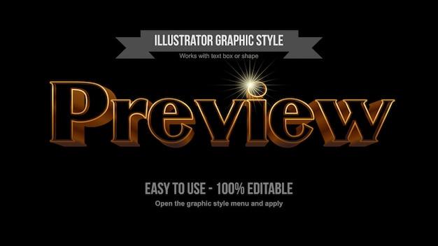 Contorno dorato con effetto di testo modificabile 3d serif nero Vettore Premium