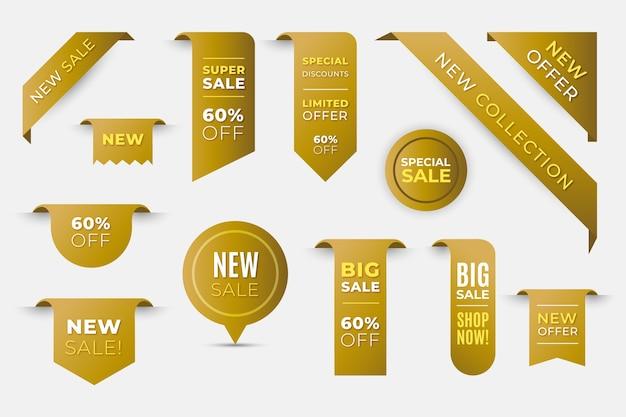 Collezione di etichette di vendita shopping realistico dorato Vettore Premium