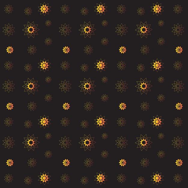 Modello senza cuciture floreale ricco dorato su fondo nero Vettore Premium