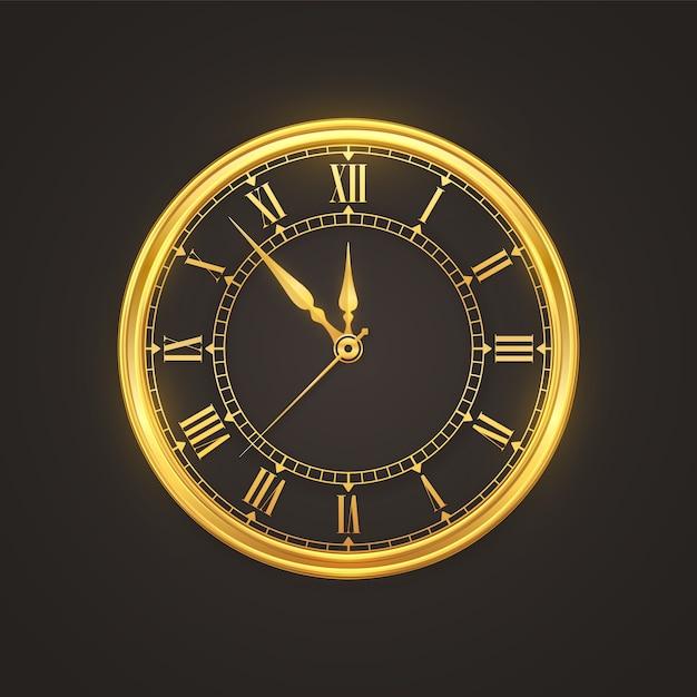 Orologio dorato lucido con conto alla rovescia a mezzanotte, vigilia di capodanno. Vettore Premium