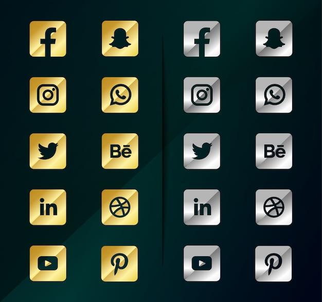 Icone dei social media in argento dorato. pacchetto logo social media Vettore Premium