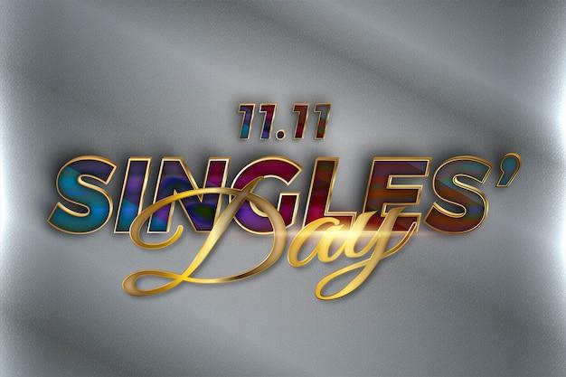 Golden singles 'day celebration realistico concetto 3d Vettore Premium