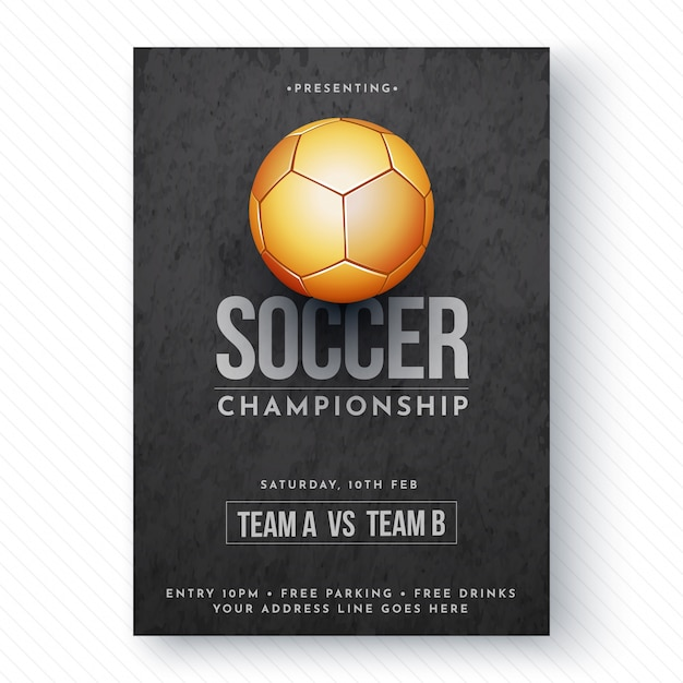 Pallone da calcio dorato, volantino campionato di calcio o design di manifesti. Vettore Premium