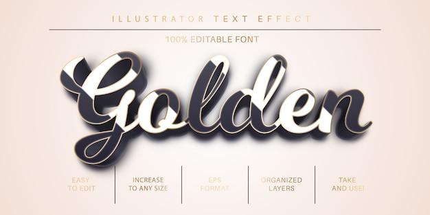 Stile di testo tratto dorato, effetto carattere Vettore Premium