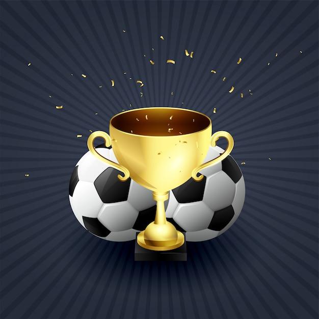 Fondo dorato di celebrazione del vincitore di calcio della tazza del trofeo Vettore Premium