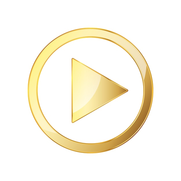 Icona di riproduzione video dorata. illustrazione vettoriale. Vettore Premium