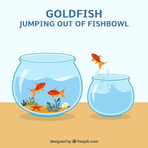Goldfish saltando fuori da un acquario in stile piatto Vettore Premium