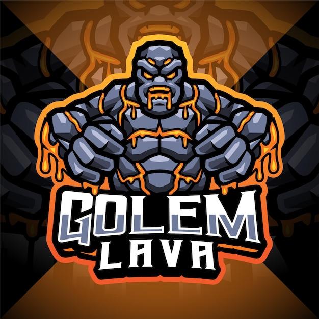 Logo della mascotte di golem lava esport Vettore Premium