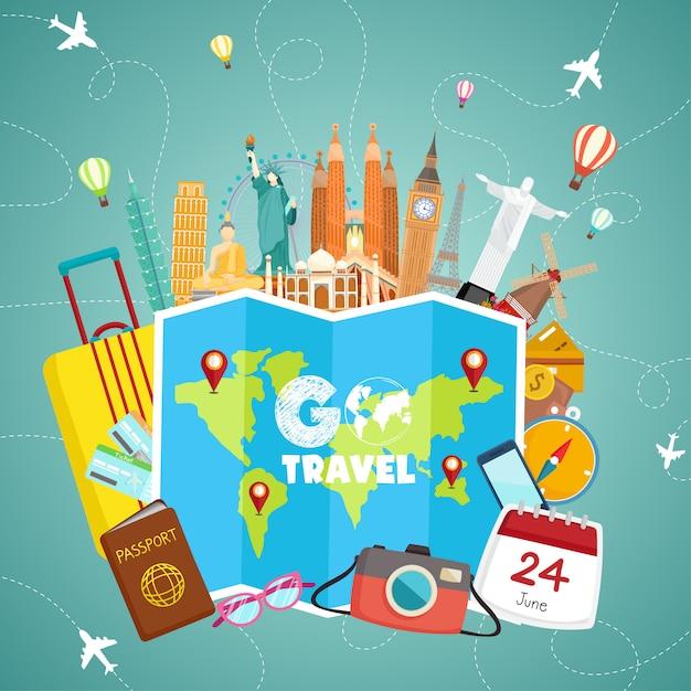 Illustrazione di viaggio goo Vettore Premium