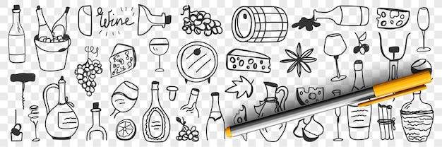 Articoli per la vinificazione insieme doodle Vettore Premium