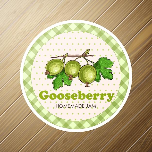 Collezione di marmellata di uva spina. etichetta di carta. design per pacchetto, carta da imballaggio o carta da parati. Vettore Premium