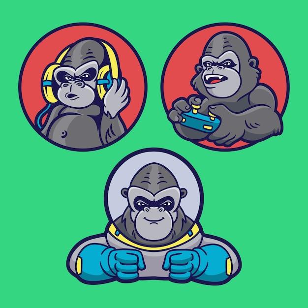 Gorilla ascolta musica, gioca e diventa un pacchetto di illustrazioni per mascotte con logo animale da astronauta Vettore Premium