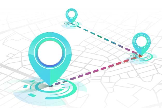 Icona dei gps che mostra sulla strada su bianco Vettore Premium