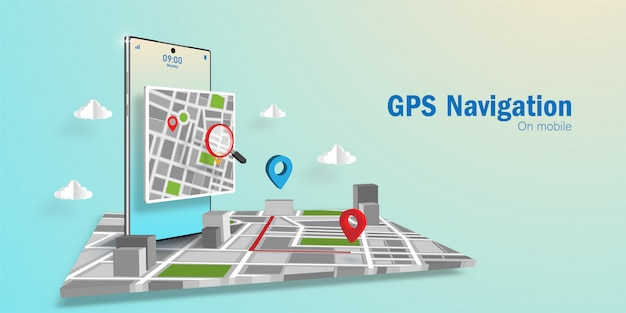 Gps application navigator concept, cerca una direzione tramite l'applicazione sullo smartphone Vettore Premium
