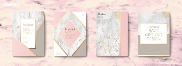 Grazioso set di brochure, forma geometrica con linea dorata e trama in pietra di marmo, tonalità rosa Vettore Premium