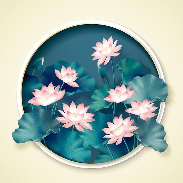 Grazioso laghetto di loto con cornice rotonda Vettore Premium