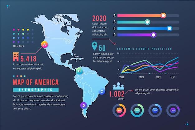 Gradiente mappa america infografica Vettore Premium