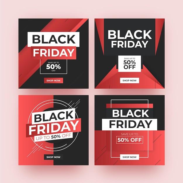 Post di instagram del venerdì nero sfumato Vettore Premium