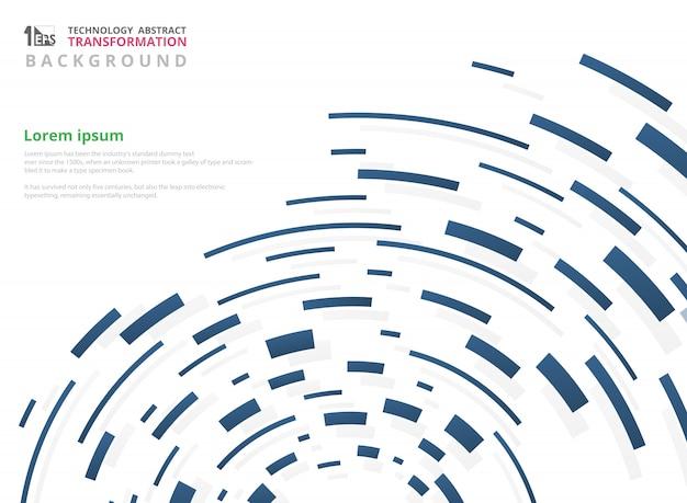 Gradiente blu del modello di linea geometrica della banda di tecnologia Vettore Premium
