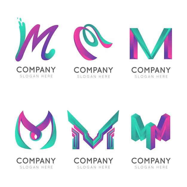 Loghi di lettera maiuscola aziendale gradiente m Vettore Premium