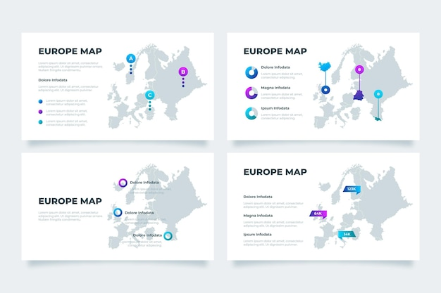 Gradiente europa mappa infografica Vettore Premium