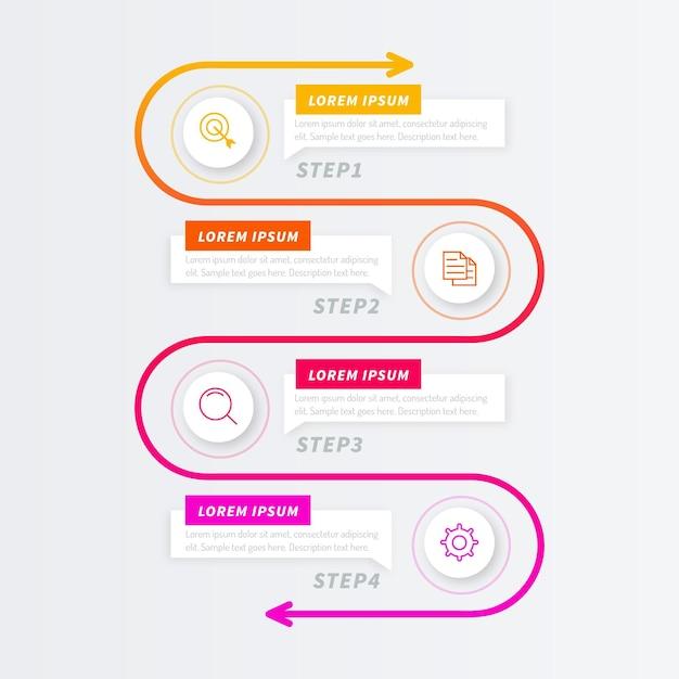 Modello di infografica processo gradiente Vettore Premium