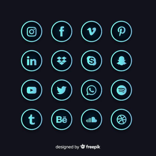 Collezione logo gradiente social media Vettore Premium