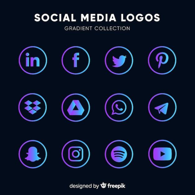 Loghi social media gradiente Vettore Premium