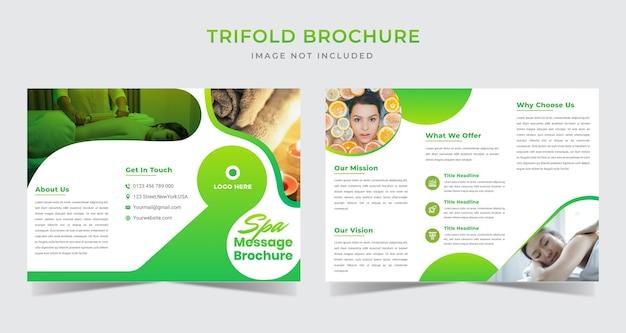 Modello di brochure a tre ante con messaggio spa sfumato Vettore Premium