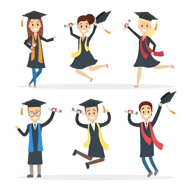Set di studenti laureati. saltare persone felici con diploma. Vettore Premium