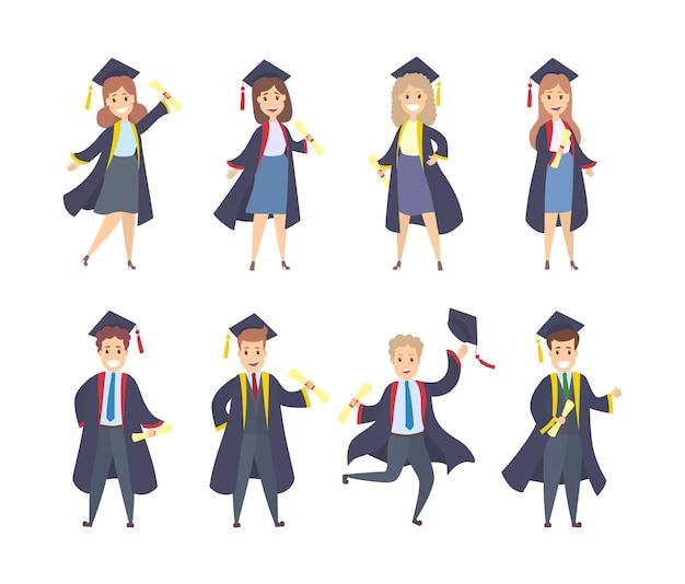 Studenti laureati con abiti, cappelli e diplomi. Vettore Premium