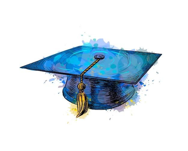 Tappo di laurea, berretto accademico quadrato da una spruzzata di acquerello, schizzo disegnato a mano. illustrazione di vernici Vettore Premium