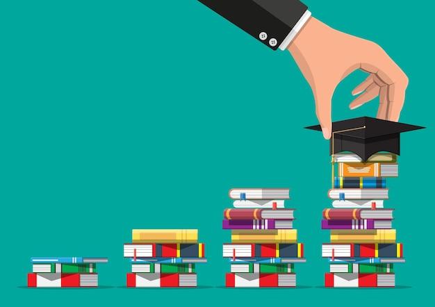 Protezione di graduazione sulla pila di libri. conoscenza accademica e scolastica, istruzione e laurea. lettura, e-book, letteratura, enciclopedia. Vettore Premium