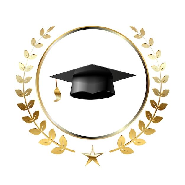 Graduazione logo template design elements. Vettore Premium