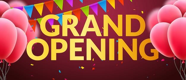 Banner di invito all'evento di grande apertura con palloncini e coriandoli. progettazione del modello del manifesto di grande apertura di parole d'oro Vettore Premium
