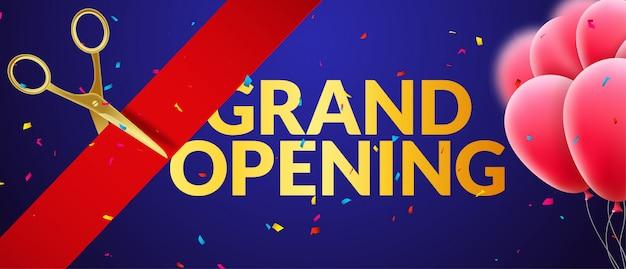 Banner di invito all'evento di grande apertura con palloncini e coriandoli. progettazione del modello di poster di grande apertura Vettore Premium