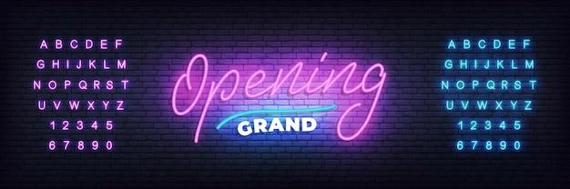 Modello al neon di grande apertura. neon lettering banner grand opening per evento, vendita, promozione Vettore Premium