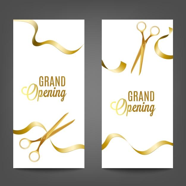 Set di inaugurazione con taglio di nastro dorato giallo con le forbici, illustrazione realistica su sfondo bianco. modello di banner pubblicitario. Vettore Premium