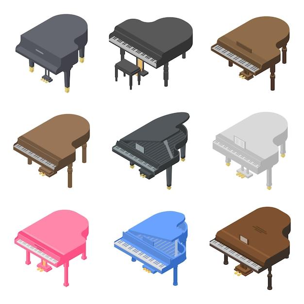 Set di icone di pianoforte a coda, stile isometrico Vettore Premium