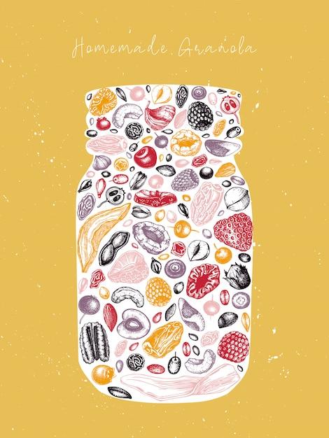 Barattolo di muesli vintage. illustrazione sana colazione incisa. muesli fatto in casa con frutti di bosco, cereali, frutta secca e cornice di noci. modello di cibo sano con elementi dorati e abbozzati Vettore Premium