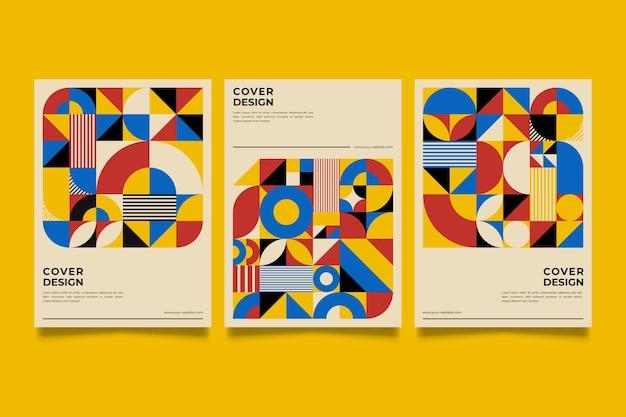 Collezione di copertine di design grafico in stile baugaus Vettore Premium