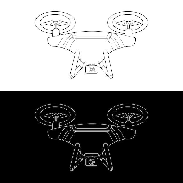 Droni grafici in bianco e nero outline outline stroke illustrate Vettore Premium